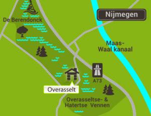 Overasselt - Kaart omgeving Nijmegen
